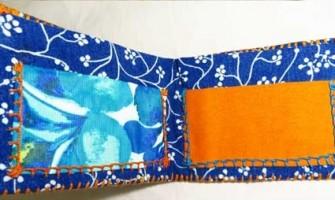 Carteiras artesanais feitas de papel, tecido, cola e lã
