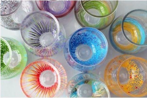 pintura vidro com canetas