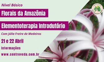 [AGENDA PB] 'Curso Florais da Amazônia – Elementoterapia Introdutório', dias 21 e 22 de abril, em João Pessoa